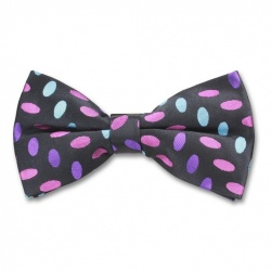 Ready Tied Black Bow Tie With Pink Purple and Blue Design